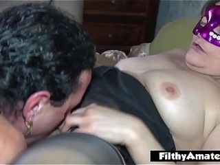Squirty depraved wifey gets cum-shot in her throat in real hump