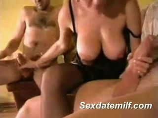 Married MILF In Lingerie Handles 2 Cocks
