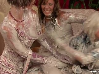 The weirdest threesome lesbian action with hot matures