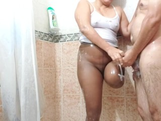 In the douche with my amputee wifey rubbing my member with her stump in stocking (part 3)