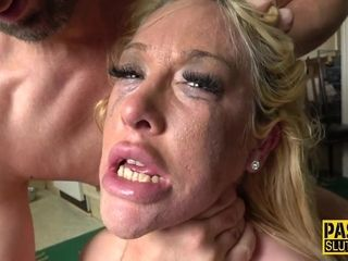 Banged cougar marionette roped up