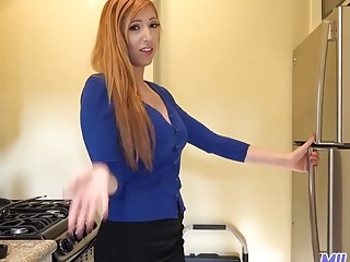 Foxy redhead with big tits railed after giving a blowjob