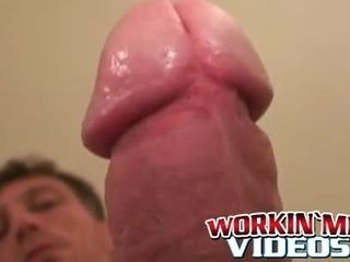 Skinny mature amateur is jerking off his big cock and cums