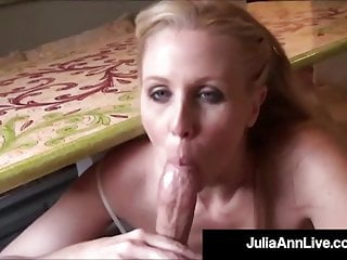 Busty Cougar Julia Ann Sucks On Big Sausage In The Kitchen!