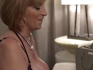Naughty blond cougar with good-sized, rigid mounds, Sara has hooked up with Kyle just to get pummeled