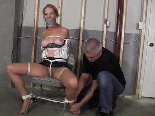 Old man bounds steamy mature on the chair