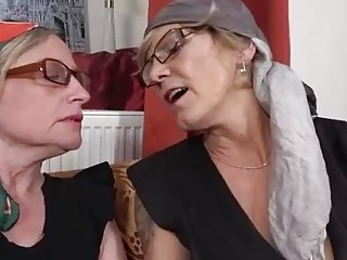 Nasty matures are pleasuring each other in front of the camera and shrieking while doing it
