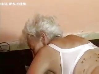 Aged grandmother pounded by machine