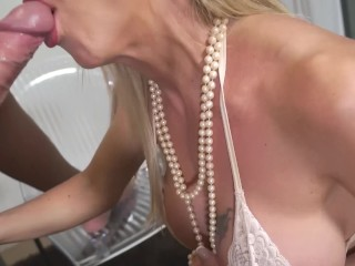 "Lara De Santis - bolwjob and swallow seed from a glass - """"cum cocktail"""""